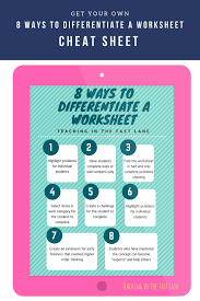 8 ways to differentiate a worksheet classroom tested resources