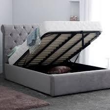 Grey Upholstered Ottoman Bed Stylish Rapyal Sleep Conda Soft Velvet Upholstered Ottoman Bed