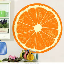 Fruit Decor For Kitchen Orange Fruit Slice Citrus Kitchen Wall Decal Removable Wall
