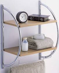 Bathroom Wall Shelves Bathroom A Chic Bathroom Wall Shelf With Towel Bar Clock And