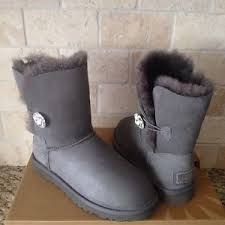 womens fur boots size 9 ugg bailey button bling gray grey suede fur boots