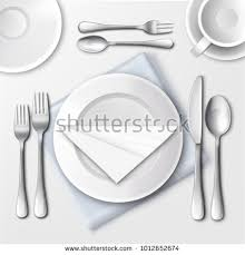how to set a table with silverware vector illustration table setting restaurant white stock vector