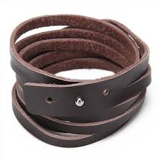 leather hand bracelet images Buy artificial leather hand wrap cuff bracelet wristband brown jpg