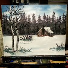 country cabin bob ross style by lashink on deviantart