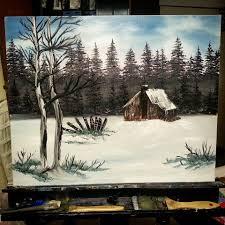 country cabin bob ross style by lashink on deviantart
