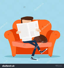 Man Home Decor Sitting On Sofa Stock Vectors Vector Clip Art Shutterstock Man