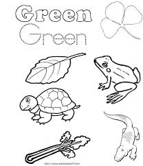 Coloring Pages With Color Words Green Word Work Sheet For Kids Green Coloring Page