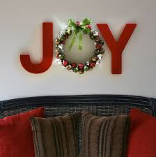 joy holiday wall letters with jingle bell wreath diy with