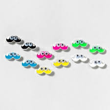 claires earrings googly eyed mustache stud earrings set of 6 s