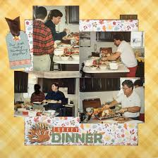 falling leaves for a thanksgiving dinner layout scrapbook update