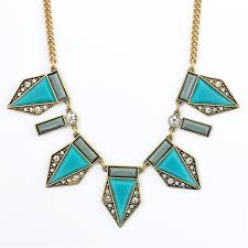turquoise blue stone necklace images Claude geometric bib turquoise blue crystal statement necklace jpg