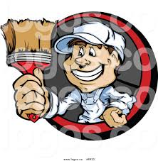 Royalty Free Clip Art Vector Logo Of A Painter Guy Holding Out A