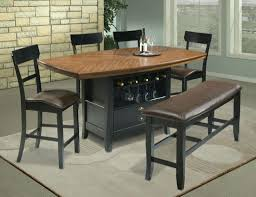espresso 5 piece pub dining furniture set with leather chair