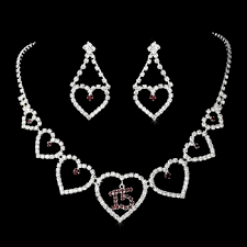 heart rhinestone necklace images Quincea era sweet 15 matching rhinestone necklace earring