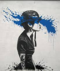 street painting by fin dac fantastic urban piece of art the girl with tatoos