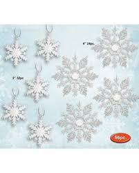 amazing deal white snowflakes set of 56 glittery white