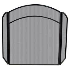 arch top black wrought iron 3 panel fireplace screen