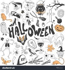 free halloween red hair witch images on white background halloween symbols vector set draw flat stock vector 327623222