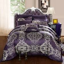 Solid Beige Comforter Luxury Classic Queen Size Bed With Deep Purple And Silver