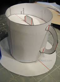 tea cup pop up card template and tutorial free download files in