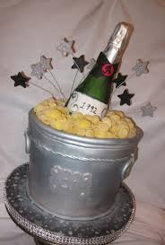 21st birthday cake ice bucket is cake the champagne bottle is made