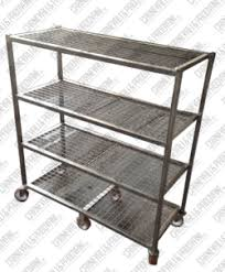 Shelves With Wheels by Trolley In Stainless Steel Aisi 304 Wiht Four Welded Frame Shelves