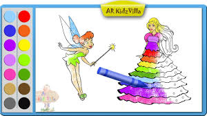 color barbie princess coloring page and learn colors for kids pt