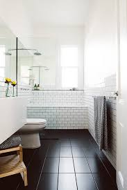 Black Slate Bathrooms Bathroom With Black Floor Tile White Subway Tile Melbourne Home