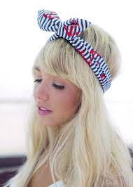 blue and white nautical stripe wire headband with red anchor