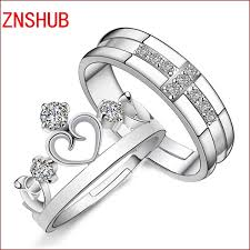 jewelry couple rings images 1 pair 2pcs silver plated ring jewelry engagement love crown jpg