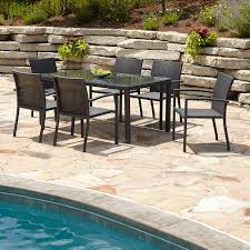 adorable home patio dining table and black resin wicker chairs