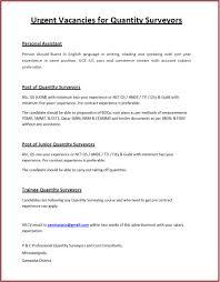 Resume Sample Quantity Surveyor by International Trainee Cover Letter