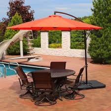 sunnydaze steel 10 foot offset patio umbrella with cantilever crank