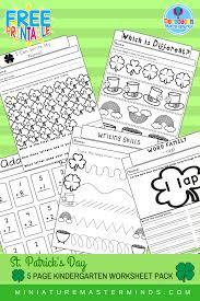 st patricks no prep worksheet pack 5 pages of kindergarten