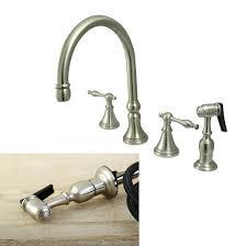 kingston brass kitchen faucets widespead 4 solid brass kitchen faucet satin nickel