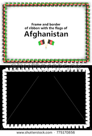afghanistan ribbon frame border ribbon afghanistan flag diplomas stock illustration