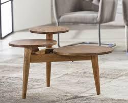 Wohnzimmertisch Beine Salontisch Onde 3 Bein Tisch Mit 3 Runden Platten Aus Massiver Akazie