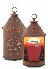 primitive tin punched candle warmer lantern