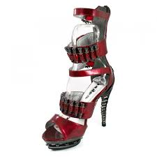 bullet accented gothic sandals with ankle wrap in red hades