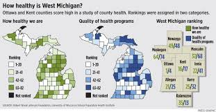Counties In Michigan Map by Report Ottawa County Is Healthiest In Michigan Clare County
