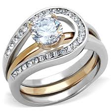 womens wedding ring sets 1ct cut two toned stainless steel 2 wedding ring set