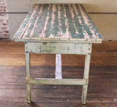 Distressed Table Vintage Rustic Farm Distressed Folding Dining Work Table Painted