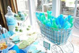 blue baby shower the blue and green rock candy in the baby carriage is adorable
