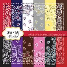 various colored bandana digital scrapbook papers by laneandmay