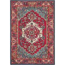 Red And Blue Persian Rug by Shop Safavieh Monaco Heritage Red Turquoise Rectangular Indoor