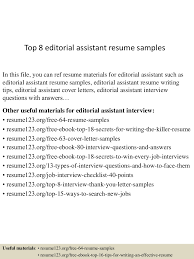 sample of executive assistant resume top8editorialassistantresumesamples 150425015614 conversion gate01 thumbnail 4 jpg cb 1429945016