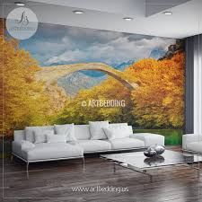 wall murals peel and stick self adhesive vinyl hd print page 2 bridge over river landscape wall mural autumn landscape of bridge over river photo mural self