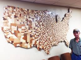 usa counties map made from 3047 carved wooden blocks 2048x1536