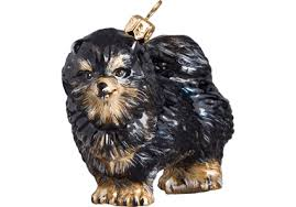 black pomeranian glass ornament by to the