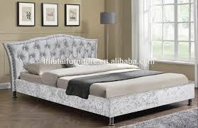 Studded Bed Frame Bed Frame Velvet Fabric Black Studded Upholstered